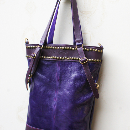 ARANKA Leather Tote Bag in Grape & Violet