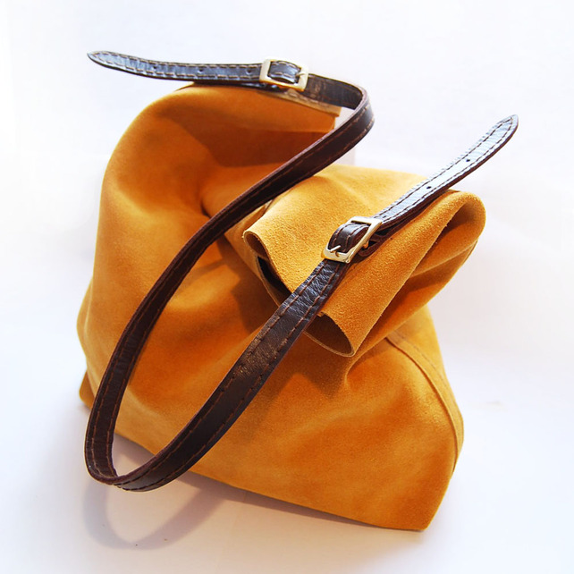 Yellow suede leather tote
