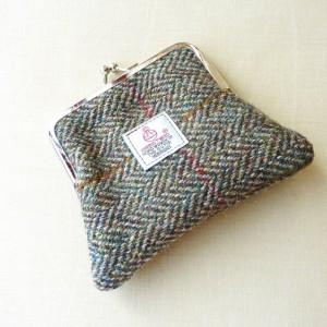 Harris Tweed Coin Purse in brown and green herringbone