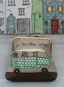 "VW Camper Van Clasp Purse titled ""Are We There Yet?"""