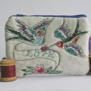 Felt Purse - With Free Machine Embroidered Vintage Tattoo Design