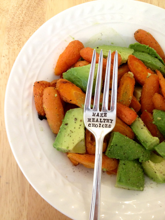 Make Healthy Choices - Hand Stamped Fork